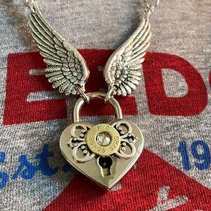 Padlock necklace, ammunition casing